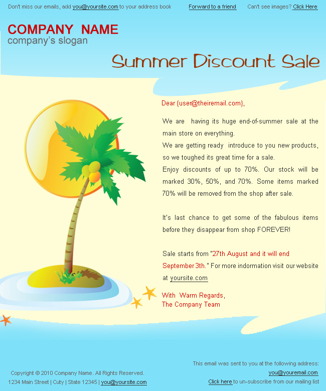 Holiday/Summer Discount Sale Newsletter - 2Styles By Bluenila