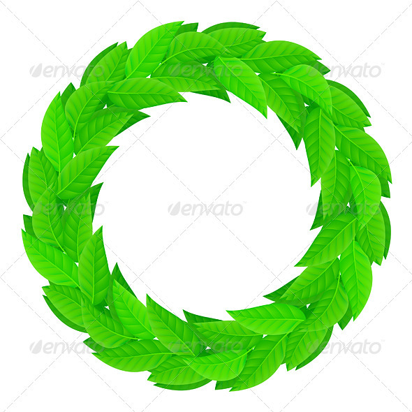 A wreath of green leaves - Objects Vectors