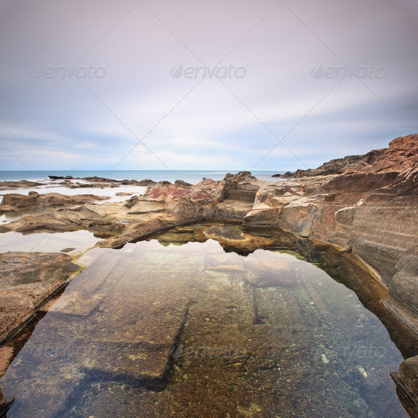 Le Vaschette water pool and rocks landscape near Livorno. Italy - Stock Photo - Images