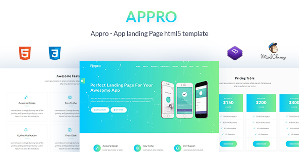 Wondrous Appro - App Landing Page HTML5 Template