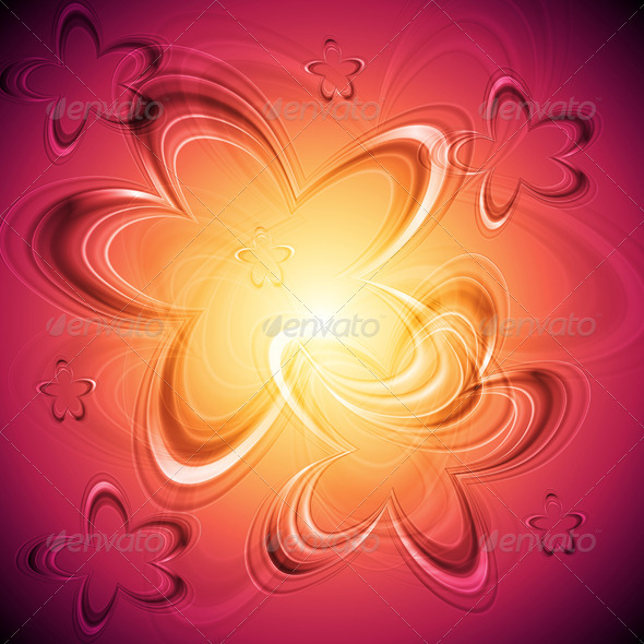Bright floral background - Flourishes / Swirls Decorative