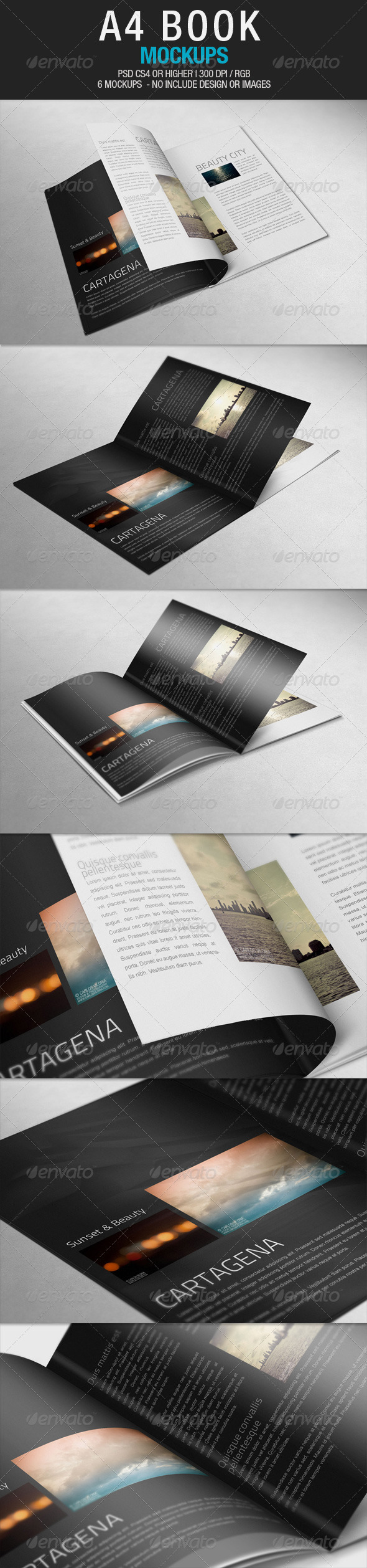 A4 Book Mockups - Books Print