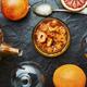 Orange fruit jam in stylish glass jar and fresh fruit - PhotoDune Item for Sale
