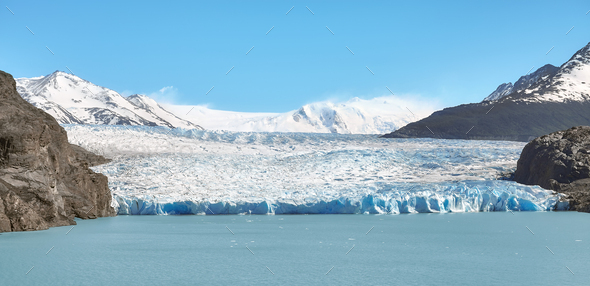 Grey Glacier in Torres Del Paine National Park, Chile - Stock Photo - Images