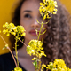 Charming curly haired black woman standing behind yellow flowers and looking away - PhotoDune Item for Sale