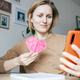 Woman Showing Heart on Video Call Through Mobile Phone. - PhotoDune Item for Sale