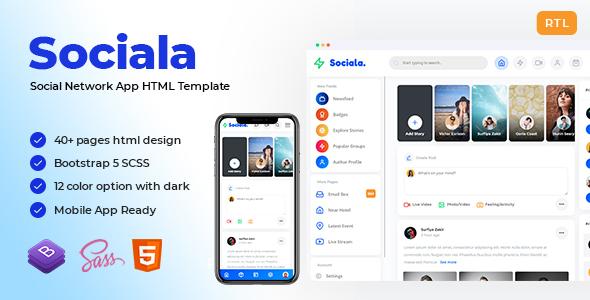 Sociala – Social Network App HTML Template