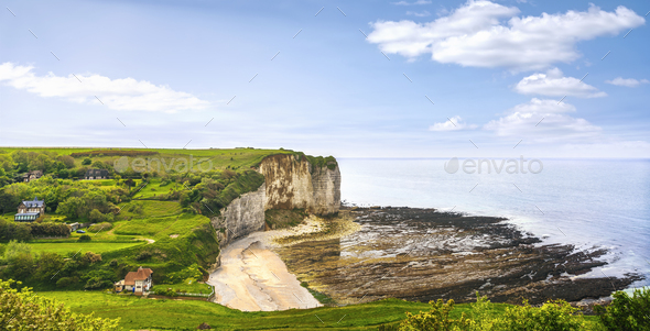 Vaucottes beach and cliffs. Etretat and Fecamp, Normandy, France - Stock Photo - Images