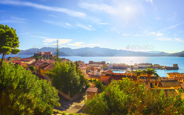 Elba island, Portoferraio aerial view from fort. Lighthouse and fort. Tuscany, Italy. - Stock Photo - Images