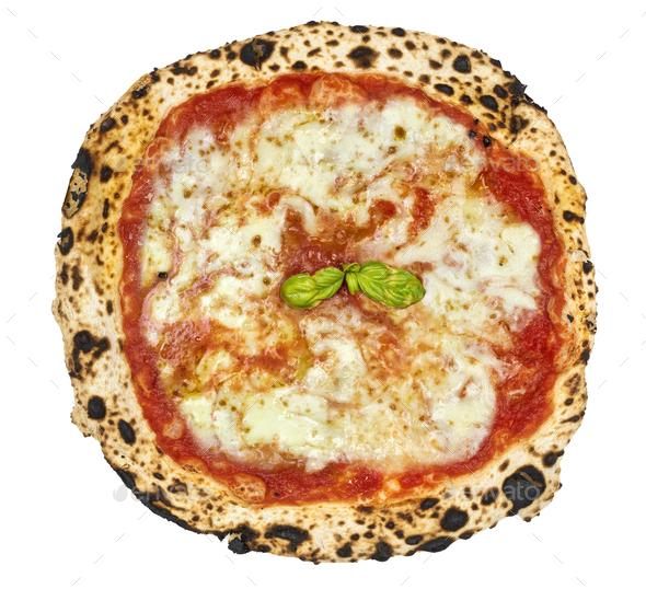 Italian Pizza Margherita isolated on white background - Stock Photo - Images