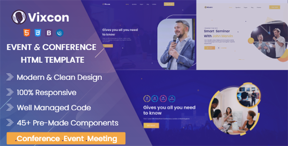 Vixcon - Event & Conference Management HTML Template