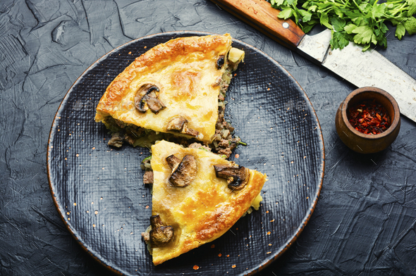 Meat pie with champignon - Stock Photo - Images