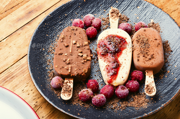 Chocolate ice cream on a stick - Stock Photo - Images