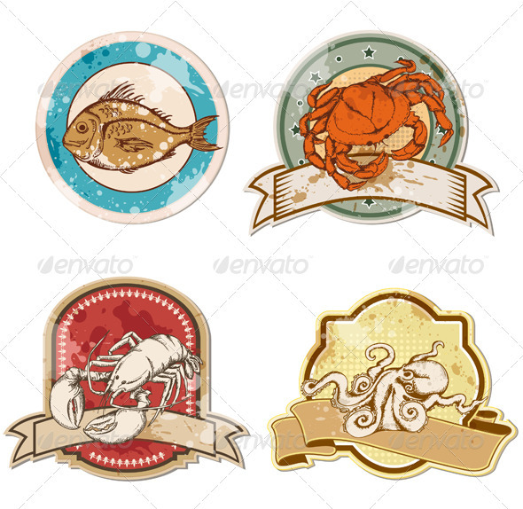 Vintage Labels with Seafood - Food Objects