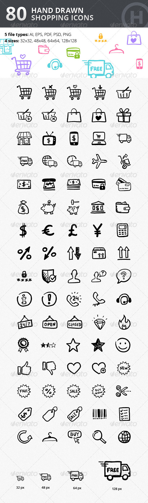 80 Hand-drawn Shopping & Commerce Icons - Web Icons