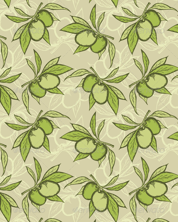 Olive Seamless Pattern - Patterns Decorative
