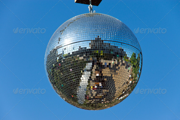 Disco ball with blue sky - Stock Photo - Images