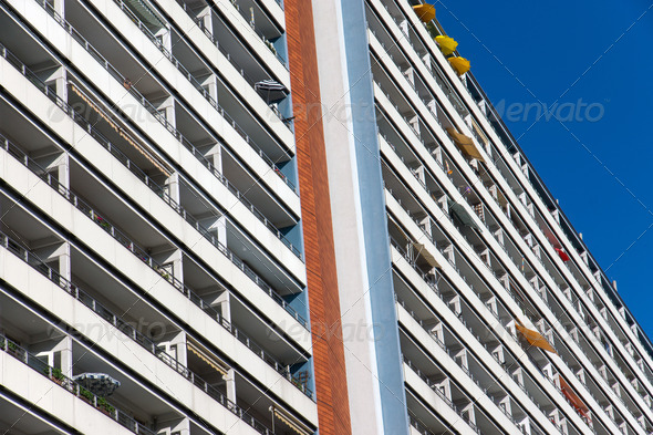 Big apartment building in Berlin  - Stock Photo - Images