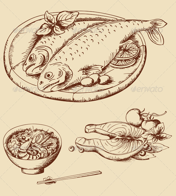 Hand Drawn Vintage Seafood - Food Objects
