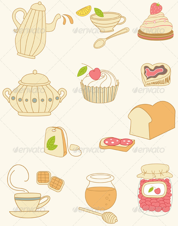 Coffee and Tea Doodles - Food Objects