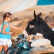 Little girl with donkey on the island of Mykonos - PhotoDune Item for Sale