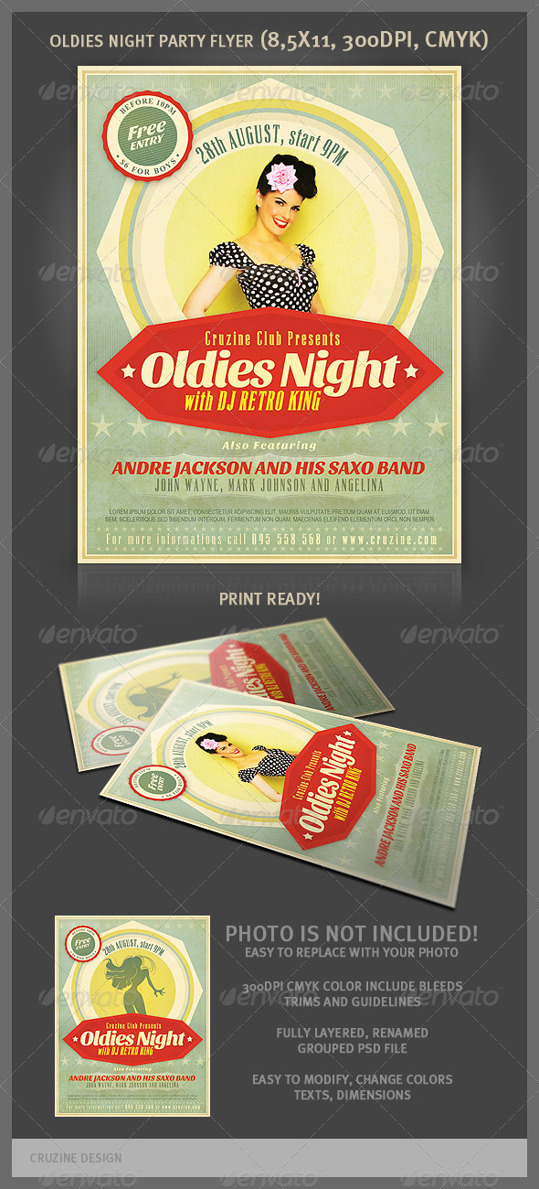 Oldies Night Party Flyer - Clubs & Parties Events
