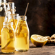 Fermented Kombucha Healthy Drink With Raw Ginger And Lemon in glass bottles.Tea Ready to Drink - PhotoDune Item for Sale