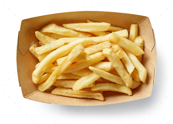 french fries in cardboard box - Stock Photo - Images