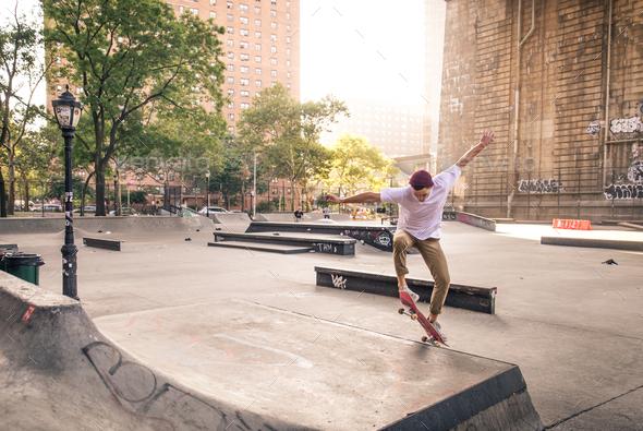 Skater training in a skate park in New York - Stock Photo - Images