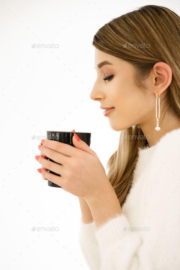 Coffee. Beautiful Girl Drinking Coffee - Stock Photo - Images