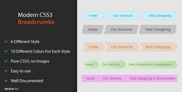 Modern CSS3 Breadcrumbs - CodeCanyon Item for Sale