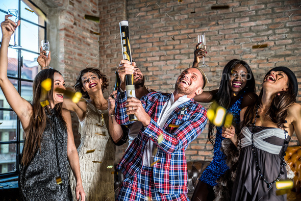 Friends having party - Stock Photo - Images