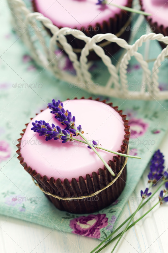 Lavender cupcakes - Stock Photo - Images