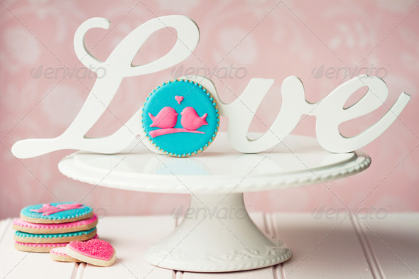 Lovebird cookies - Stock Photo - Images