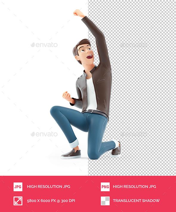 3D Cartoon Man in Winner Pose