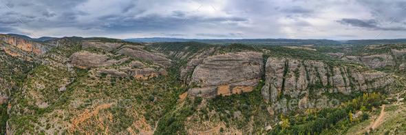 View of Sierra de Guara gorge near Alquezar town, Huesca, Spain - Stock Photo - Images