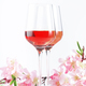 Rose wine glass with bottle on the white table and pink flowers - PhotoDune Item for Sale