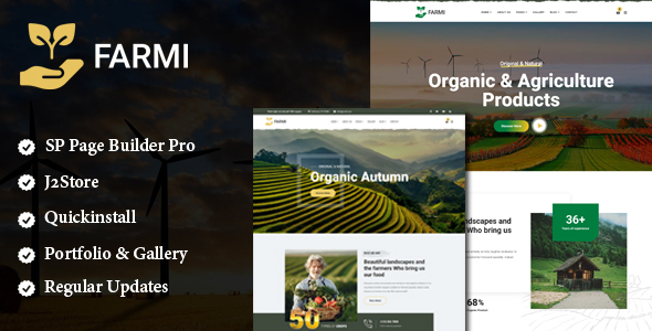 Farmi - Organic Farm Agriculture Joomla Template With Page Builder