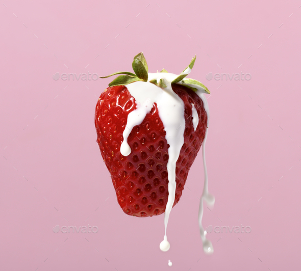 Strawberry with cream - Stock Photo - Images