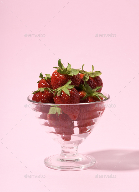 Glass with strawberries - Stock Photo - Images