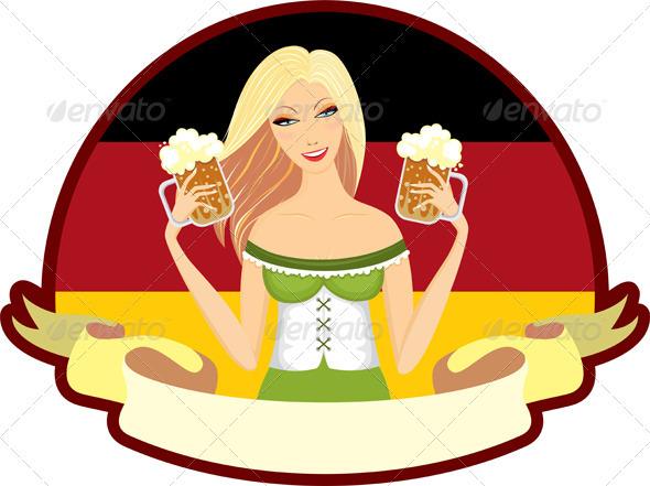 Oktoberfest Girl Beer Label - Seasons/Holidays Conceptual