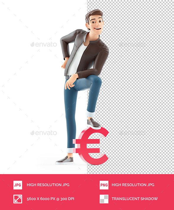 3D Cartoon Man Foot on Euro Sign