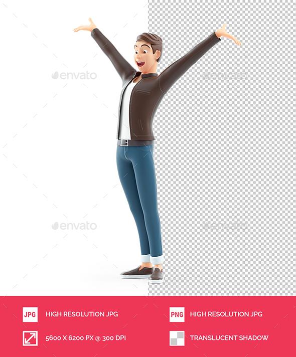 3D Cartoon Man with very Happy Pose