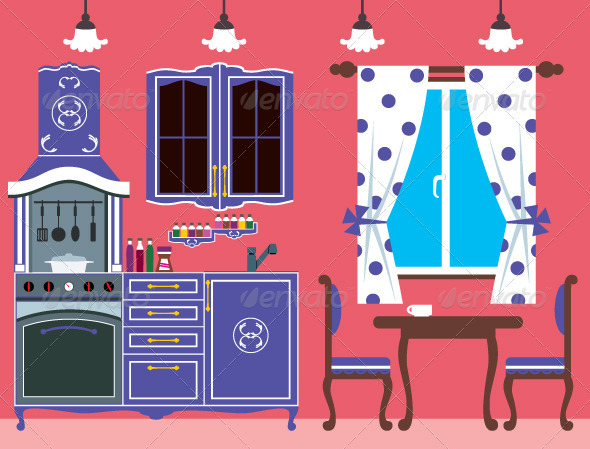 Kitchen furniture. Interior - Man-made Objects Objects
