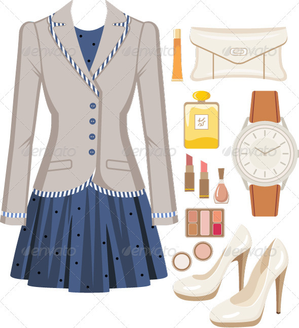 Fashion set from a female suit - Conceptual Vectors