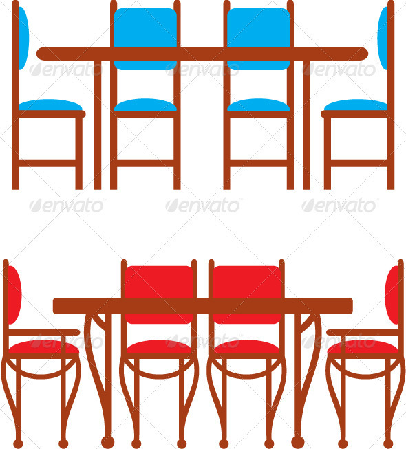 Set of dining tables and chairs - Objects Vectors