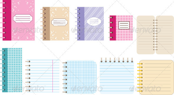 Paper notebooks. Diaries. - Objects Vectors