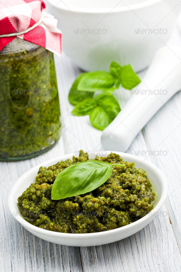 basil pesto in ceramic bowl - Stock Photo - Images