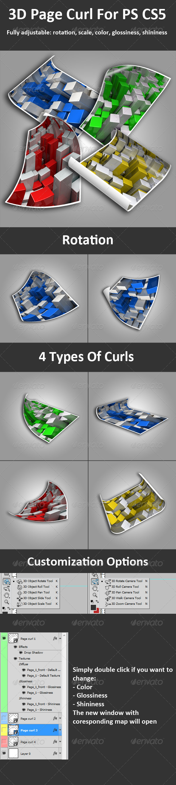 3D Page Curl For PS CS5, Full 3D Options - Photo Templates Graphics