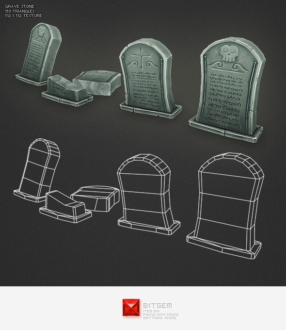 Low Poly Grave Stone 01 - 3DOcean Item for Sale